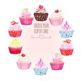 Ζωηρόχρωμο διανυσματικό σχέδιο cupcakes γύρω από το πλαίσιο Στοκ φωτογραφία με δικαίωμα ελεύθερης χρήσης