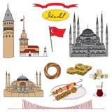 Ζωηρόχρωμο διανυσματικό σύνολο αντικειμένου της Ιστανμπούλ απομονωμένο τουρίστας διανυσματική απεικόνιση