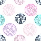 Ζωηρόχρωμο κατασκευασμένο άνευ ραφής σχέδιο κύκλων, μπλε, ρόδινο, στρογγυλό σημείο Πόλκα grunge απεικόνιση αποθεμάτων