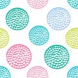Ζωηρόχρωμο κατασκευασμένο άνευ ραφής σχέδιο κύκλων, μπλε, ρόδινο, πράσινο στρογγυλό σημείο Πόλκα grunge, τυλίγοντας έγγραφο διανυσματική απεικόνιση