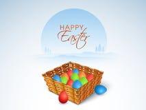Ζωηρόχρωμο καλάθι αυγών για τον ευτυχή εορτασμό Πάσχας Στοκ Εικόνες