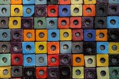 Ζωηρόχρωμο κεραμικό υπόβαθρο επιφάνειας σύστασης κιβωτίων κύβων συνδυασμού Στοκ Εικόνες