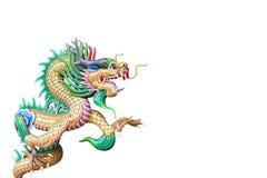 Ζωηρόχρωμο κινεζικό άγαλμα δράκων που απομονώνεται στο λευκό, με το ψαλίδισμα του π Στοκ φωτογραφία με δικαίωμα ελεύθερης χρήσης