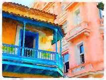 Ζωηρόχρωμο κτήριο στην Αβάνα στην Κούβα διανυσματική απεικόνιση