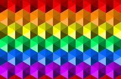 Ζωηρόχρωμο κυματίζοντας υπόβαθρο σύστασης ουράνιων τόξων των hexagon μορφών, χρώματα σημαιών υπερηφάνειας LGBTQ, οριζόντιο άνευ ρ διανυσματική απεικόνιση