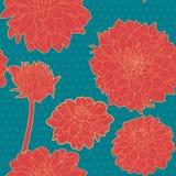 Ζωηρόχρωμο κόκκινο άνευ ραφής floral σχέδιο αστέρων με τα μπλε σημεία Στοκ Εικόνες