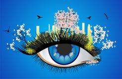 Ζωηρόχρωμο μάτι άνοιξη διανυσματική απεικόνιση