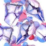 Ζωηρόχρωμο μετάλλευμα κοσμήματος βράχου διαμαντιών Άνευ ραφής πρότυπο ανασκόπησης Στοκ Εικόνες