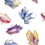 Ζωηρόχρωμο μετάλλευμα κοσμήματος βράχου διαμαντιών Απομονωμένο στοιχείο απεικόνισης Άνευ ραφής πρότυπο ανασκόπησης Στοκ Εικόνες