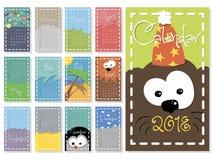 Ζωηρόχρωμο μηνιαίο ημερολογιακό διάνυσμα έτους του 2018 διανυσματική απεικόνιση