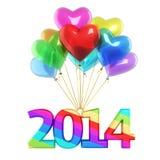 Ζωηρόχρωμο νέο έτος 2014 μπαλονιών καρδιών Στοκ Εικόνες