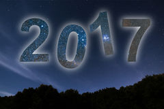 2017 Ζωηρόχρωμο νέο έτος πυράκτωσης 2017 νυχτερινός ουρανός αστραπής απεικόνισης αφαίρεσης Στοκ Εικόνες