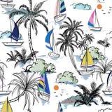 Ζωηρόχρωμο νησί θερινών όμορφο άνευ ραφής σχεδίων με τη βάρκα και ελεύθερη απεικόνιση δικαιώματος