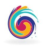 Ζωηρόχρωμο λογότυπο εικονιδίων κυμάτων Swirly Στοκ Εικόνες