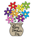 Ζωηρόχρωμο δοχείο λουλουδιών ημέρας μητέρας Στοκ Εικόνες