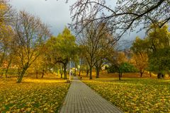 Ζωηρόχρωμο πάρκο πτώσης στη μικρή πόλη στην Πολωνία Στοκ Φωτογραφίες