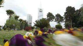 Ζωηρόχρωμο πάρκο Batumi, θέση αναψυχής πόλεων, φρεσκάδα φύσης, περιβάλλον απόθεμα βίντεο
