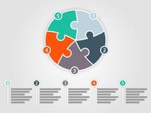 Ζωηρόχρωμο πέντε πλαισιωμένο infographic πρότυπο παρουσίασης γρίφων κύκλων Στοκ εικόνα με δικαίωμα ελεύθερης χρήσης