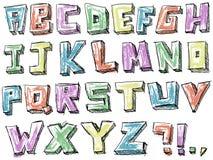 Ζωηρόχρωμο περιγραμματικό συρμένο χέρι αλφάβητο Στοκ Εικόνα