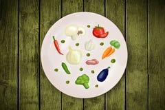 Ζωηρόχρωμο πιάτο με συρμένα τα χέρι εικονίδια, τα σύμβολα, τα λαχανικά και FR Στοκ Εικόνες