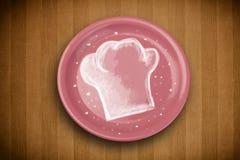 Ζωηρόχρωμο πιάτο με συρμένο το χέρι άσπρο σύμβολο αρχιμαγείρων Στοκ εικόνα με δικαίωμα ελεύθερης χρήσης
