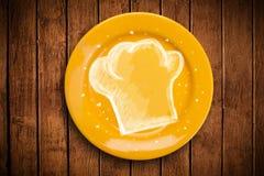 Ζωηρόχρωμο πιάτο με συρμένο το χέρι άσπρο σύμβολο αρχιμαγείρων Στοκ εικόνες με δικαίωμα ελεύθερης χρήσης