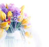 ζωηρόχρωμο πλαίσιο λουλουδιών συνόρων ομορφιάς τέχνης Στοκ Εικόνες