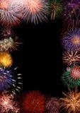 ζωηρόχρωμο πλαίσιο πυροτεχνημάτων Στοκ εικόνα με δικαίωμα ελεύθερης χρήσης