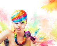 Ζωηρόχρωμο πορτρέτο μόδας ομορφιάς Στοκ Εικόνες