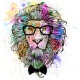 Ζωηρόχρωμο πορτρέτο χαρακτήρα λιονταριών διανυσματική απεικόνιση