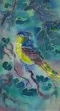 Ζωηρόχρωμο πουλί μπατίκ watercolor χρωματισμένο χέρι στο υφαντικό υπόβαθρο Στοκ Εικόνα