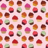 ζωηρόχρωμο πρότυπο cupcakes Στοκ Εικόνα