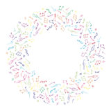Ζωηρόχρωμο πλαίσιο μουσικής κύκλων στο ύφος doodle Στοκ Εικόνα