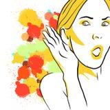 Ζωηρόχρωμο σκίτσο ακούσματος κουτσομπολιού διανυσματική απεικόνιση