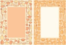 Ζωηρόχρωμο σκεύος για την κουζίνα στο υπόβαθρο A4 - διανυσματικό διακοσμητικό πλαίσιο για τις επιλογές απεικόνιση αποθεμάτων