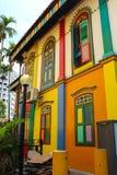 Ζωηρόχρωμο σπίτι, μικρή ινδική Σιγκαπούρη Στοκ Εικόνα