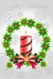 Ζωηρόχρωμο στεφάνι σφαιρών Χριστουγέννων στην κορδέλλα - διανυσματικό eps10 διανυσματική απεικόνιση