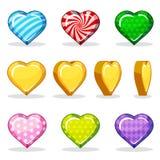 Ζωηρόχρωμο στιλπνό σύνολο καρδιών κινούμενων σχεδίων, ζωτικότητα παιχνιδιών Στοκ φωτογραφία με δικαίωμα ελεύθερης χρήσης