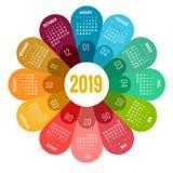 Ζωηρόχρωμο στρογγυλό ημερολογιακό 2019 σχέδιο, πρότυπο τυπωμένων υλών, το λογότυπο και το κείμενό σας Η εβδομάδα αρχίζει την Κυρι Ελεύθερη απεικόνιση δικαιώματος
