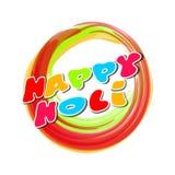 Ζωηρόχρωμο στρογγυλό έμβλημα για το ινδικό φεστιβάλ των χρωμάτων ευτυχές holi Γράφοντας κάρτα Holi Στοκ Φωτογραφίες