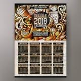 Ζωηρόχρωμο συρμένο χέρι doodles ημερολόγιο έτους καφέδων 2018 κινούμενων σχεδίων Στοκ φωτογραφία με δικαίωμα ελεύθερης χρήσης