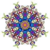Ζωηρόχρωμο συρμένο χέρι Mandala, ασιατικό διακοσμητικό στοιχείο, εκλεκτής ποιότητας ύφος Στοκ Εικόνες