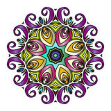 Ζωηρόχρωμο συρμένο χέρι Mandala, ασιατικό διακοσμητικό στοιχείο, εκλεκτής ποιότητας ύφος Στοκ εικόνες με δικαίωμα ελεύθερης χρήσης