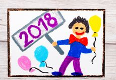Ζωηρόχρωμο σχέδιο: ευτυχές άτομο με τα μπαλόνια που γιορτάζει το νέο έτος 2018 Στοκ φωτογραφία με δικαίωμα ελεύθερης χρήσης