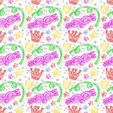 Ζωηρόχρωμο σχέδιο καρναβαλιού με τα doodles των μασκών, του κομφετί και των αστεριών Στοκ φωτογραφία με δικαίωμα ελεύθερης χρήσης