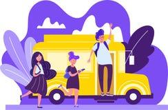 Ζωηρόχρωμο σχέδιο των παιδιών σχολείου σε ένα φωτεινό κίτρινο λεωφορείο με έναν νεαρό άνδρα διανυσματική απεικόνιση