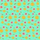 Ζωηρόχρωμο σχέδιο με τις μέλισσες, τα λουλούδια και τις κηρήθρες Στοκ φωτογραφία με δικαίωμα ελεύθερης χρήσης