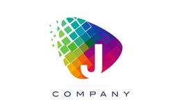 Ζωηρόχρωμο σχέδιο λογότυπων ουράνιων τόξων γραμμάτων J στοκ εικόνες