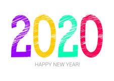 ζωηρόχρωμο σύμβολο έτους του 2020 καλή χρονιά Έμβλημα, κάρτα Πορφυρός, κίτρινος, πράσινος και κόκκινος Ευχετήρια κάρτα, αφίσα Κιμ διανυσματική απεικόνιση