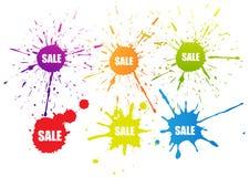 Ζωηρόχρωμο σύμβολο σημαδιών ετικεττών χρώματος πώλησης splatter Στοκ εικόνες με δικαίωμα ελεύθερης χρήσης